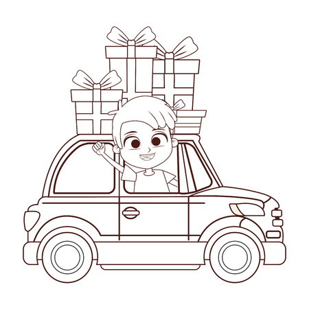 cartoon smiling boy driving car with gifts vector illustration graphic design