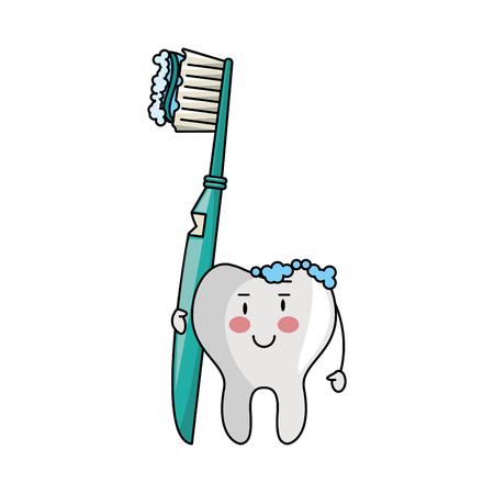 tooth holding dental brush cartoons vector illustration graphic design