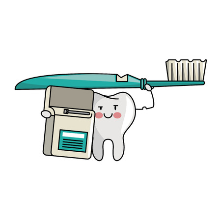tooth holding toothbrush and floss cartoons vector illustration graphic design
