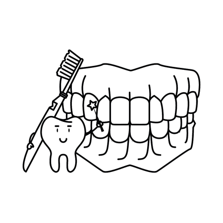 cartoon dental care tooth with denture and toothbrush vector illustration graphic design