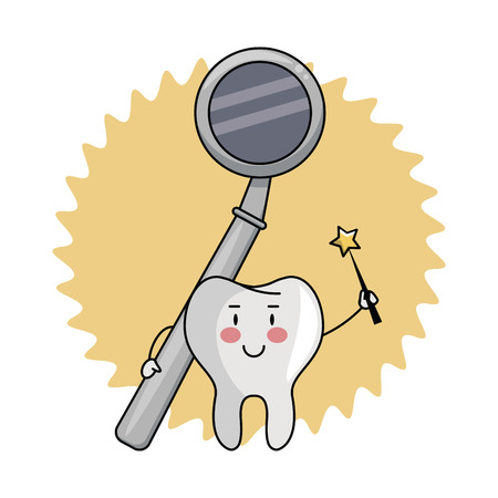 cartoon dental care tooth with dental mirror vector illustration graphic design Ilustração