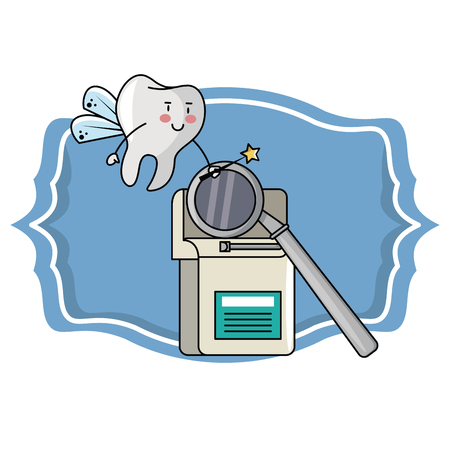 cartoon dental care tooth with floss and mirror vector illustration graphic design Banco de Imagens - 111432244