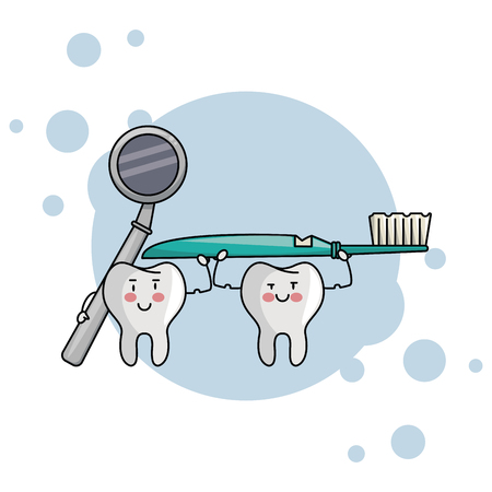 cartoon dental care teeth with toothbrush and mirror vector illustration graphic design Illusztráció