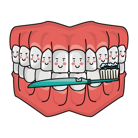 cartoon dental care smiling denture with toothbrush cartoon vector illustration graphic design