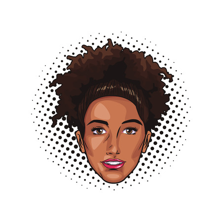 Pop art afro woman cartoon dotted background vector illustration graphic design Illustration