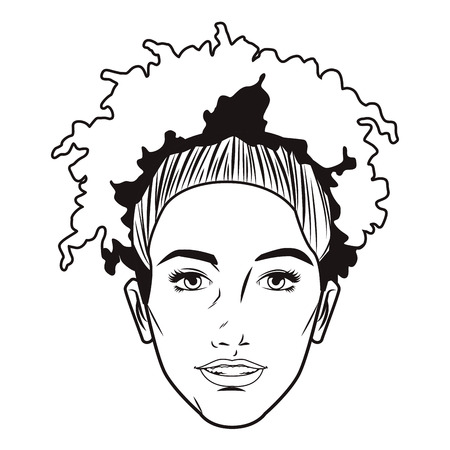 Pop art afro woman cartoon in black and white