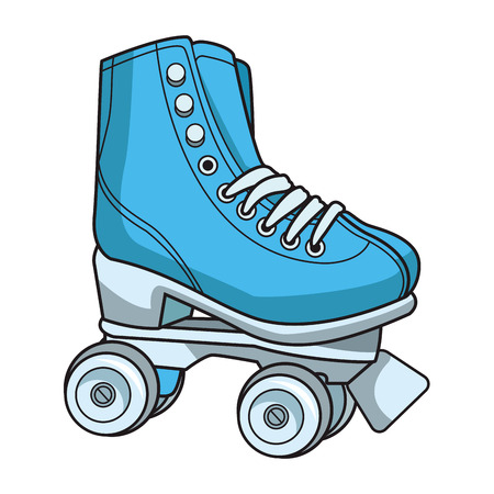 pop art retro roller skates cartoon vector illustration graphic design