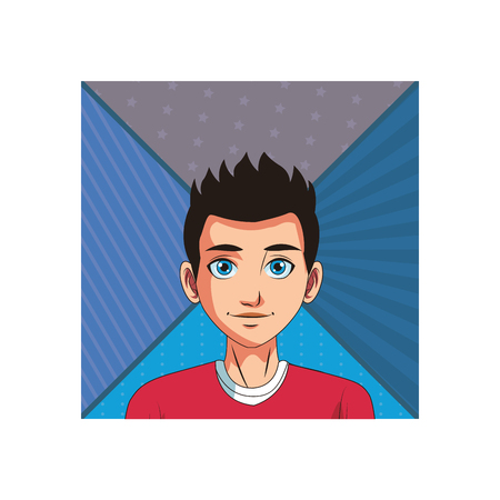 young man face cartoon in front of camera vector illustration graphic design