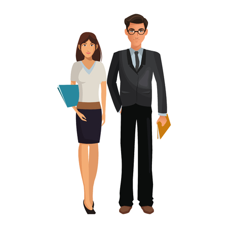 business coworkers executives working inside office cartoon vector illustration graphic design Archivio Fotografico - 111468936