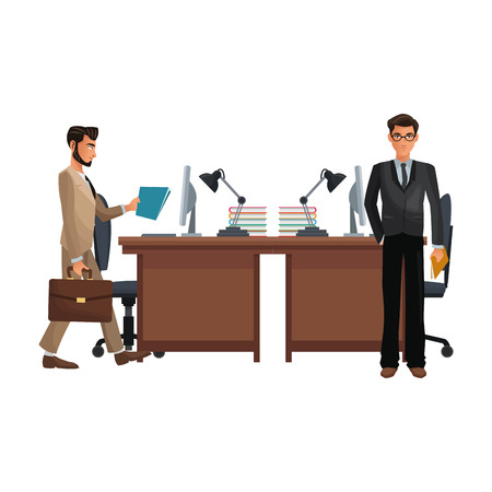 business coworkers executives working inside office cartoon vector illustration graphic design