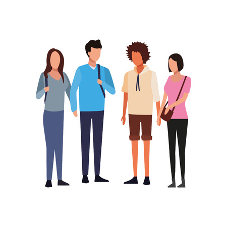 Young couples of friends meeting vector illustration graphic design