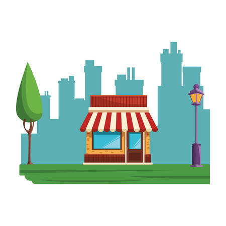 store building cartoon vector illustration graphic design 向量圖像