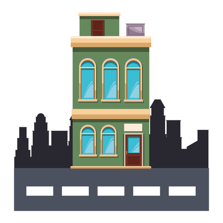 apartments building cartoon vector illustration graphic design