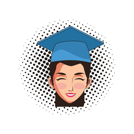 graduate young woman face cartoon vector illustration graphic design
