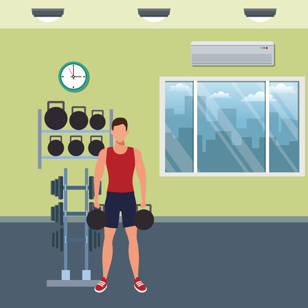 Fitness man training inside gym building vector illustration graphic design