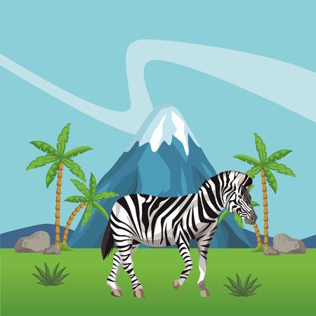 Zebra wild animal at nature landscape vector illustration graphic design
