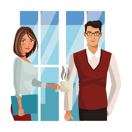 Businessman and businesswoman with coffee and folder over office window vector illustration graphic design