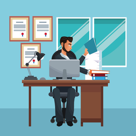 Businessman seated on desk working with computer and folders inside office building vector illustration graphic design