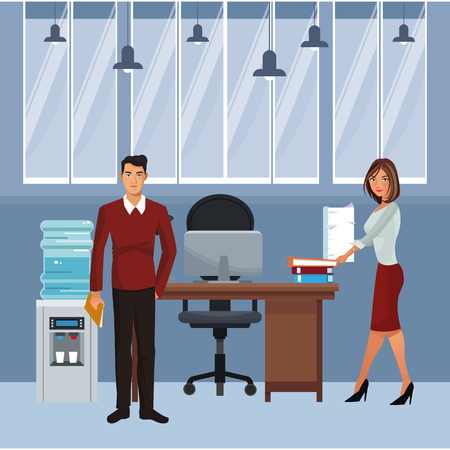 Secretary holding sheets and business in desk with computer inside office building vector illustration graphic design Ilustração