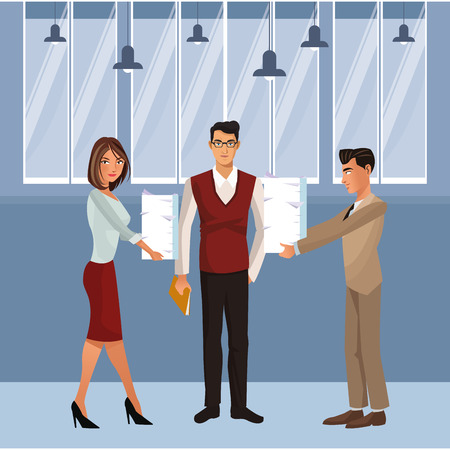 Business coworkers giving documents to boss inside office building vector illustration graphic design