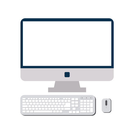 Computer with keyboard and mouse vector illustration graphic design