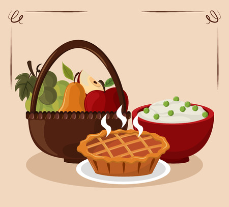 Thanksgiving day food pumpkin pie with mashed potatoes and fruits in basket vector illustration graphic design