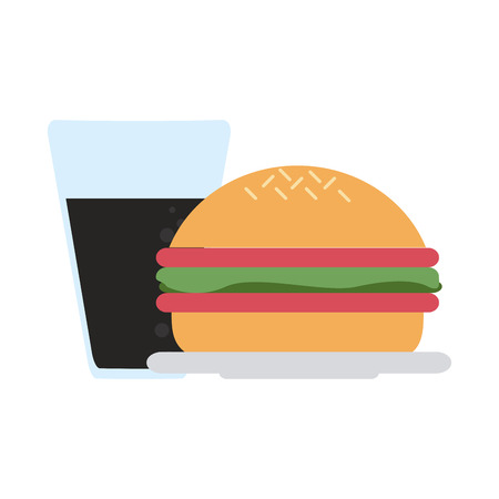 Burger and soda cup vector illustration graphic design Ilustrace