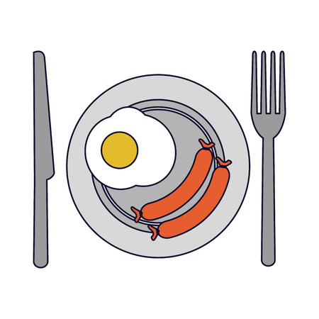 American breakfast on dish with cutlery vector illustration graphic design