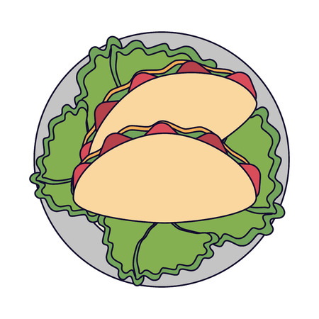 Burritos on dish with lettuce vector illustration graphic design Çizim