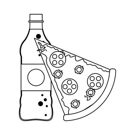 Pizza and soda bottle vector illustration graphic design Ilustração