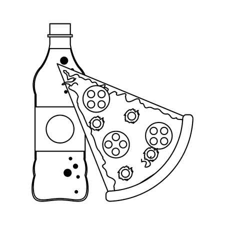 Pizza and soda bottle vector illustration graphic design Illustration