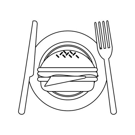 Burger on dish with cutlery vector illustration graphic design 写真素材 - 111469930