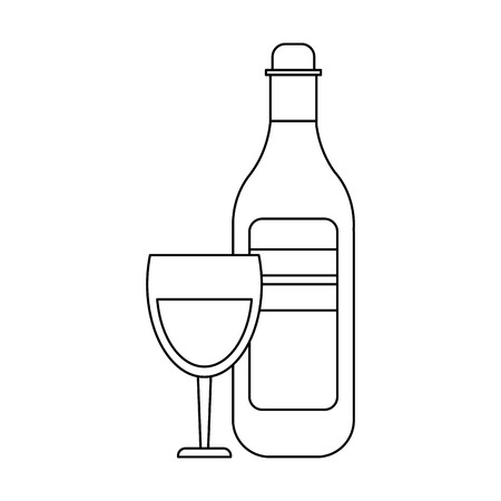 Wine bottle and cup glass vector illustration graphic design