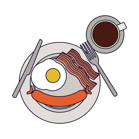 American breakfast on dish with coffee vector illustration graphic design