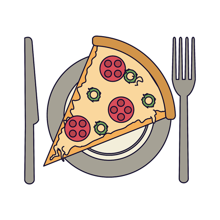 Pizza on dish with cutlery vector illustration graphic design