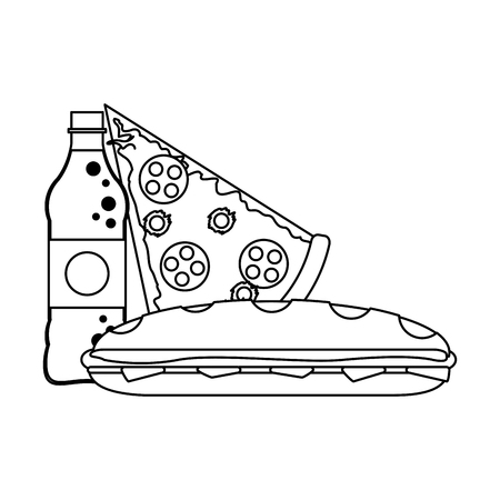 Soda bottle and pizza with sandwich vector illustration graphic design