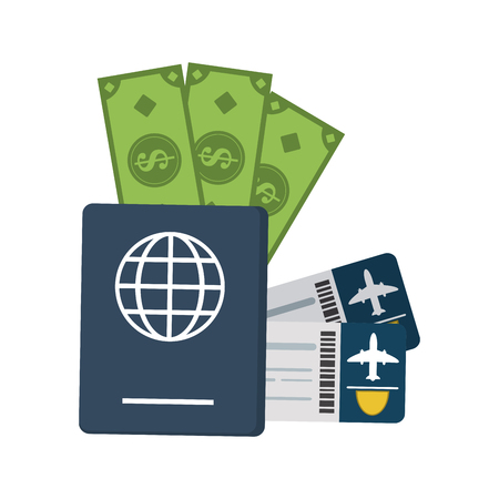 Online flight tickets and travel elements vector illustration graphic design