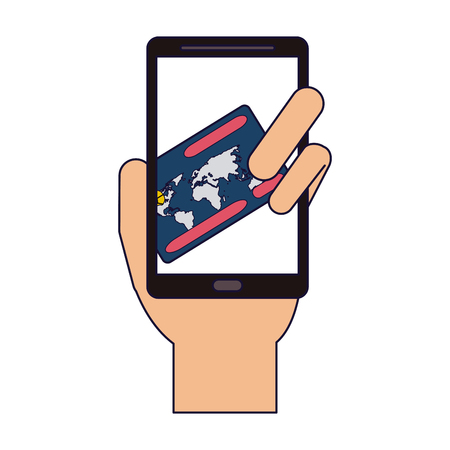 Online shopping and payment smartphone vector illustration graphic design  イラスト・ベクター素材