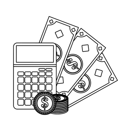 calculator and money savings vector illustration graphic design 일러스트