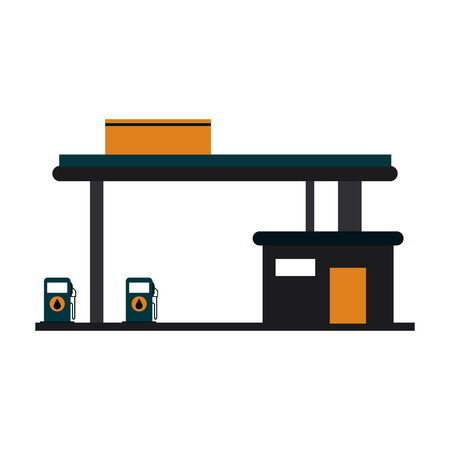 Fuel dispenser station building vector illustration graphic design