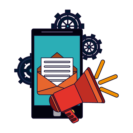 Sending advertising email from smartphone vector illustration graphic design Illustration