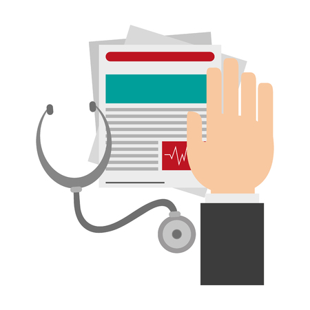 Hand on medical documents and stethoscope vector illustration graphic design Illustration