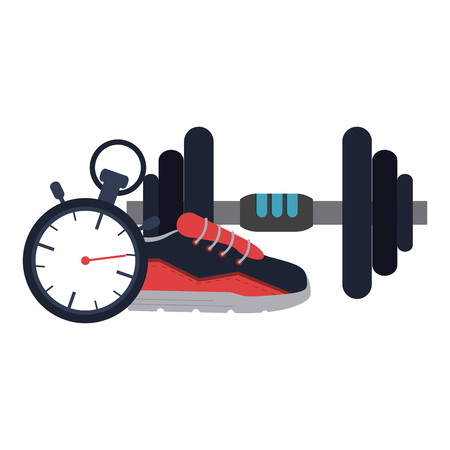 Gym dumbbells sneaker and timer equipment and elements vector illustration graphic design