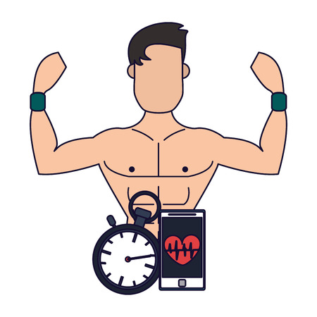 Man flexing muscular arms and timer with cardio smartphone app vector illustration graphic design Illustration