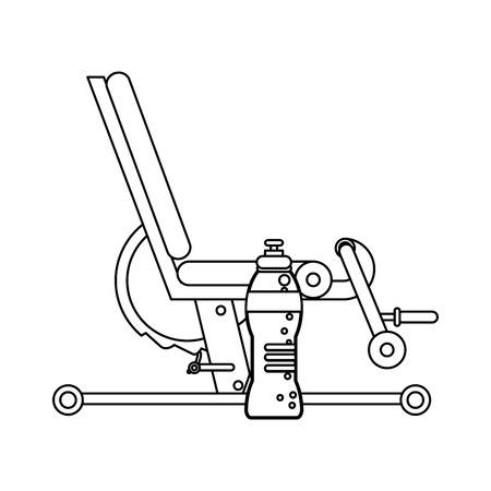 Gym legs press equipment and water bottle elements in black and white vector illustration graphic design