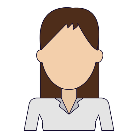 Young woman faceles avatar profile vector illustration graphic design