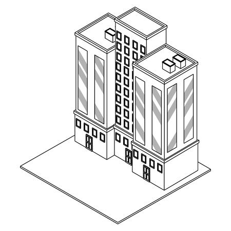 Company building real estate isometric vector illustration graphic design Vectores