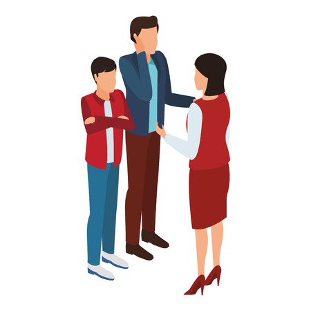 Mother and father talking and boy with arms crossed isometric avatar vector illustration graphic design
