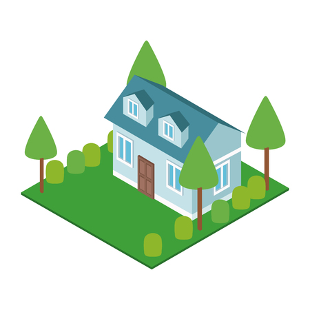 House with nature garden isometric concept vector illustration graphic design