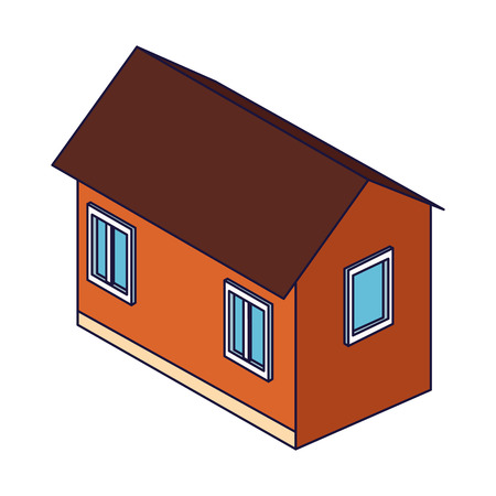 House real estate isometric building vector illustration graphic design